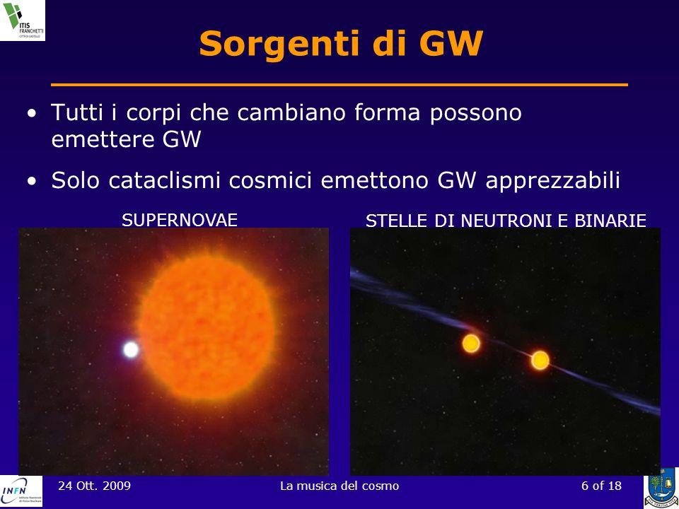 24 Ott. 2009La musica del cosmo6 of 18 Sorgenti di GW Tutti i corpi che cambiano forma possono emettere GW Solo cataclismi cosmici emettono GW apprezz