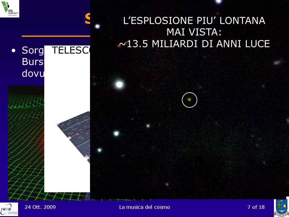 24 Ott. 2009La musica del cosmo7 of 18 Sorgenti di GW Sorgenti relativamente intense sono le Gamma Ray Burst. Quelle di breve durata sembrano essere d