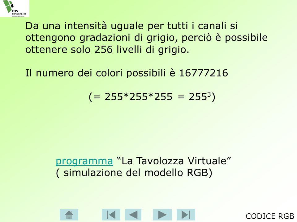 programmaprogramma La Tavolozza Virtuale ( simulazione del modello RGB) Da una intensità uguale per tutti i canali si ottengono gradazioni di grigio,