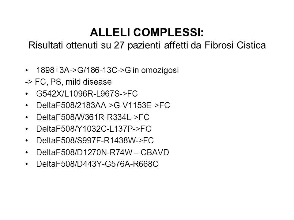 ALLELI COMPLESSI: Risultati ottenuti su 27 pazienti affetti da Fibrosi Cistica 1898+3A->G/186-13C->G in omozigosi -> FC, PS, mild disease G542X/L1096R