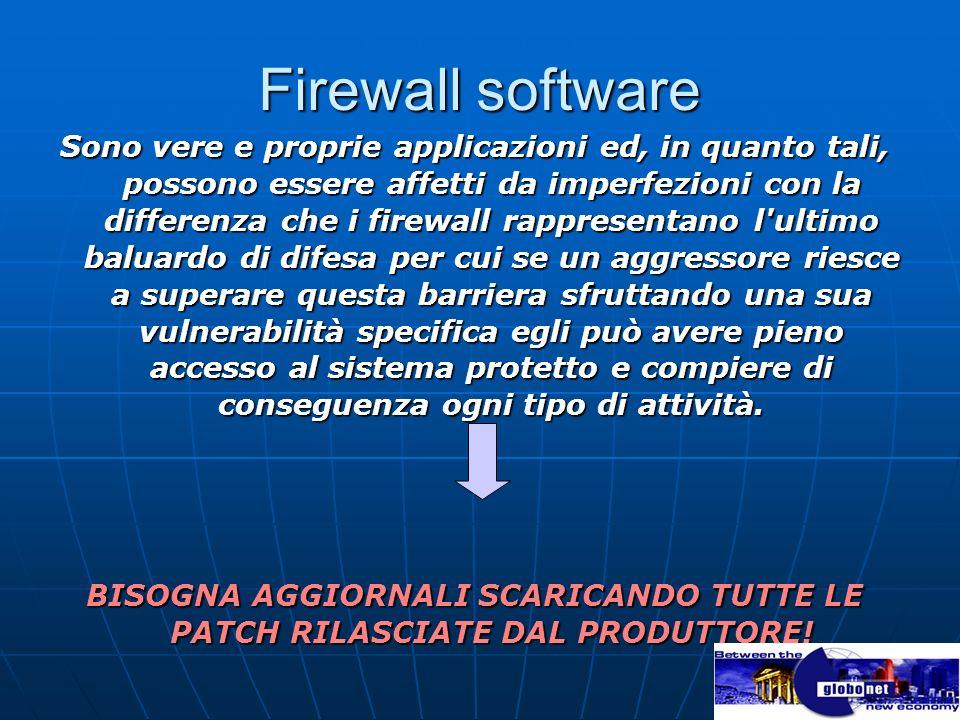 Firewall software Sono vere e proprie applicazioni ed, in quanto tali, possono essere affetti da imperfezioni con la differenza che i firewall rappres