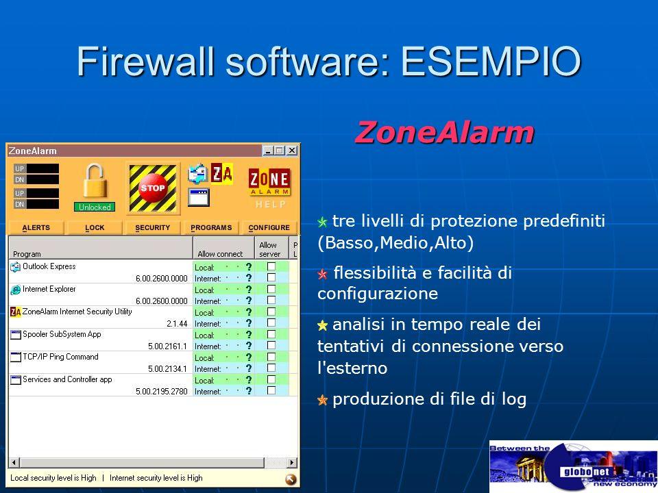 Firewall software: ESEMPIO ZoneAlarm ZoneAlarm tre livelli di protezione predefiniti (Basso,Medio,Alto) flessibilità e facilità di configurazione anal