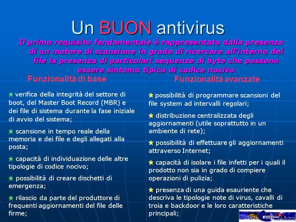 Un BUON antivirus Il primo requisito fondamentale è rappresentato dalla presenza di un motore di scansione in grado di ricercare all'interno dei file