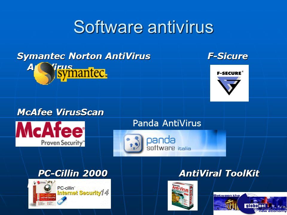 Software antivirus Symantec Norton AntiVirus F-Sicure AntiVirus McAfee VirusScan PC-Cillin 2000 AntiViral ToolKit Pro PC-Cillin 2000 AntiViral ToolKit Pro Panda AntiVirus
