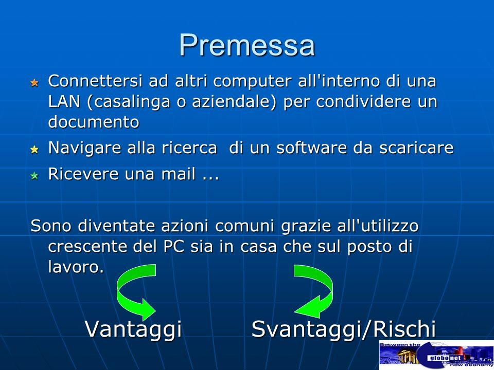 Premessa Connettersi ad altri computer all'interno di una LAN (casalinga o aziendale) per condividere un documento Navigare alla ricerca di un softwar