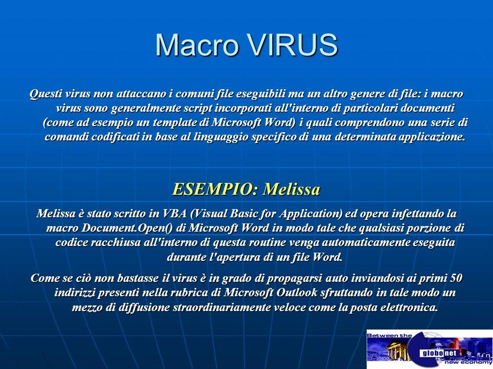 Macro VIRUS Questi virus non attaccano i comuni file eseguibili ma un altro genere di file: i macro virus sono generalmente script incorporati all'int