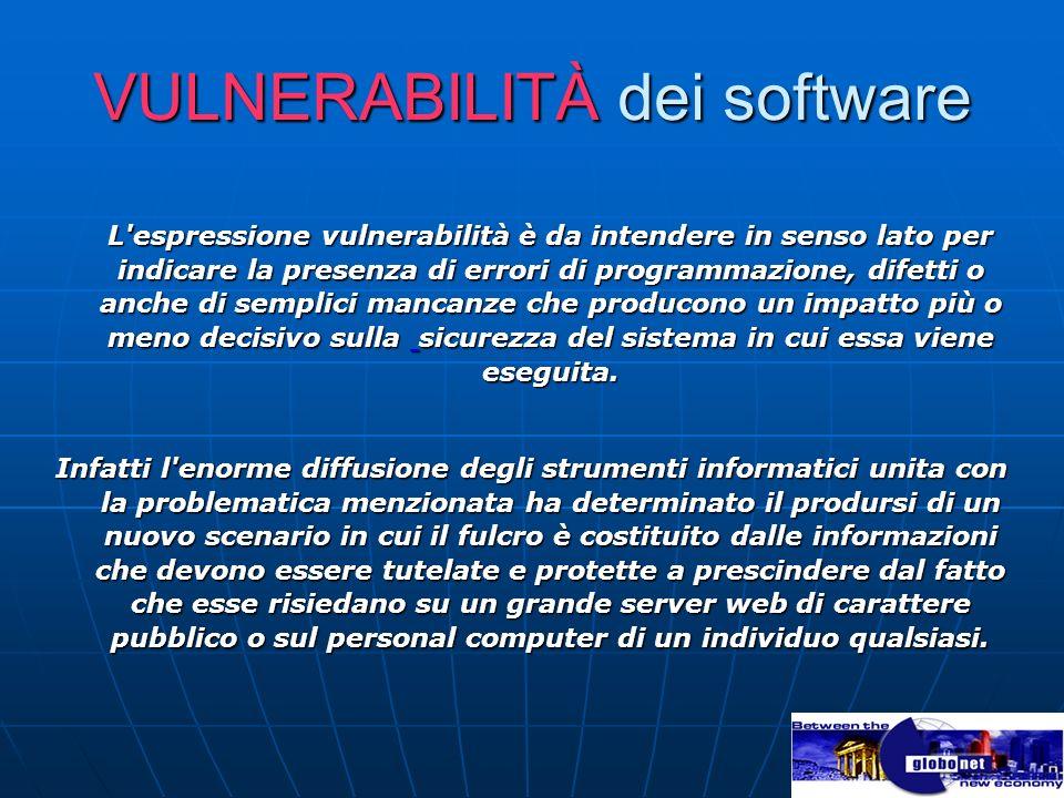 VULNERABILITÀ dei software L'espressione vulnerabilità è da intendere in senso lato per indicare la presenza di errori di programmazione, difetti o an