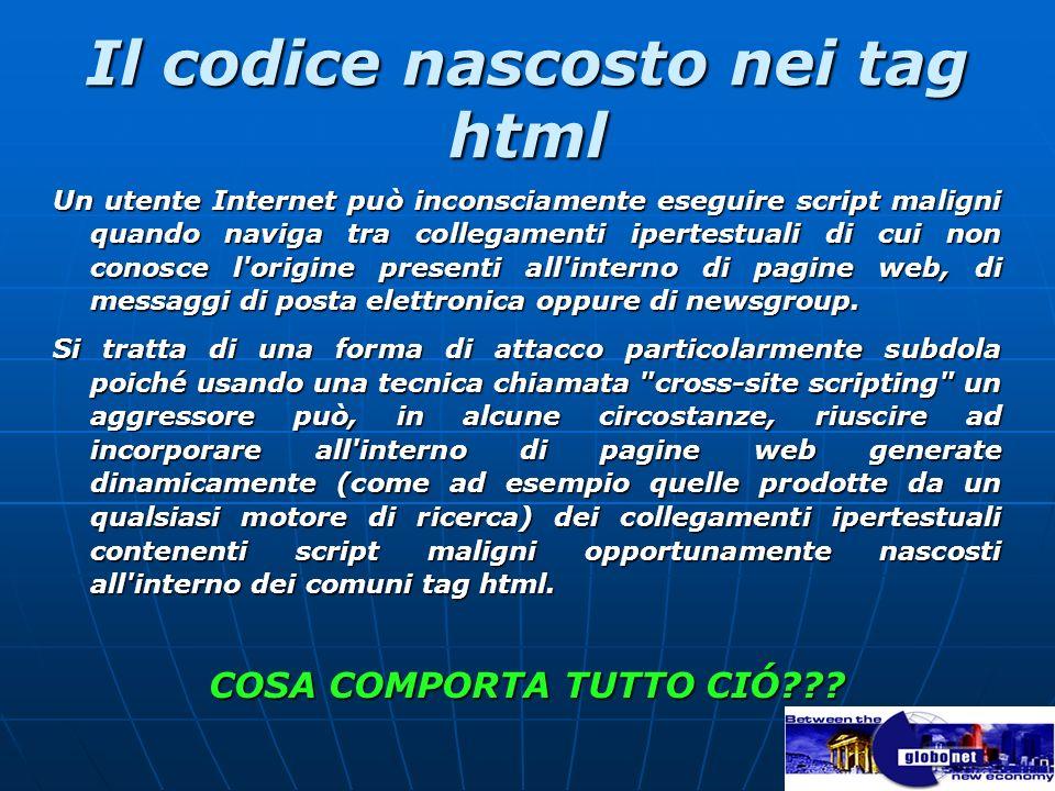 Il codice nascosto nei tag html Un utente Internet può inconsciamente eseguire script maligni quando naviga tra collegamenti ipertestuali di cui non c
