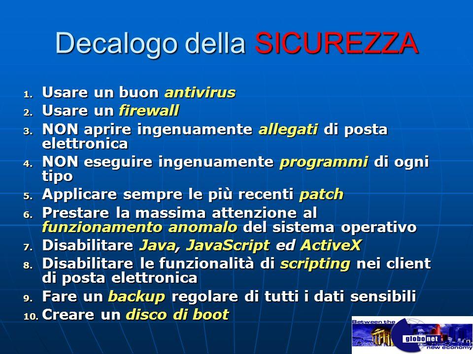 Decalogo della SICUREZZA 1. Usare un buon antivirus 2. Usare un firewall 3. NON aprire ingenuamente allegati di posta elettronica 4. NON eseguire inge