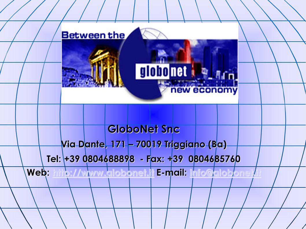 GloboNet Snc Via Dante, 171 – 70019 Triggiano (Ba) Tel: +39 0804688898 - Fax: +39 0804685760 Web: http://www.globonet.it E-mail: info@globonet.it http