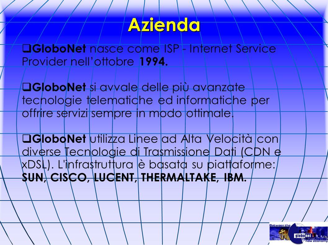 Azienda GloboNet nasce come ISP - Internet Service Provider nellottobre 1994. GloboNet si avvale delle più avanzate tecnologie telematiche ed informat