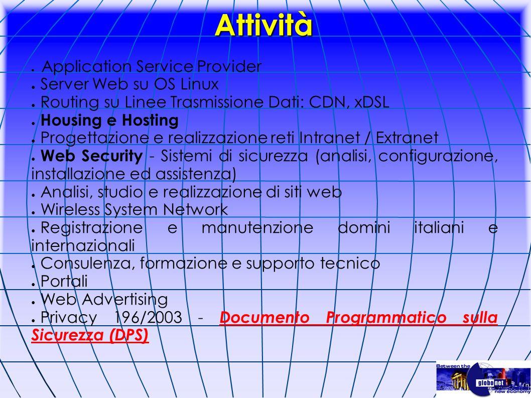 Attività Application Service Provider Server Web su OS Linux Routing su Linee Trasmissione Dati: CDN, xDSL Housing e Hosting Progettazione e realizzaz