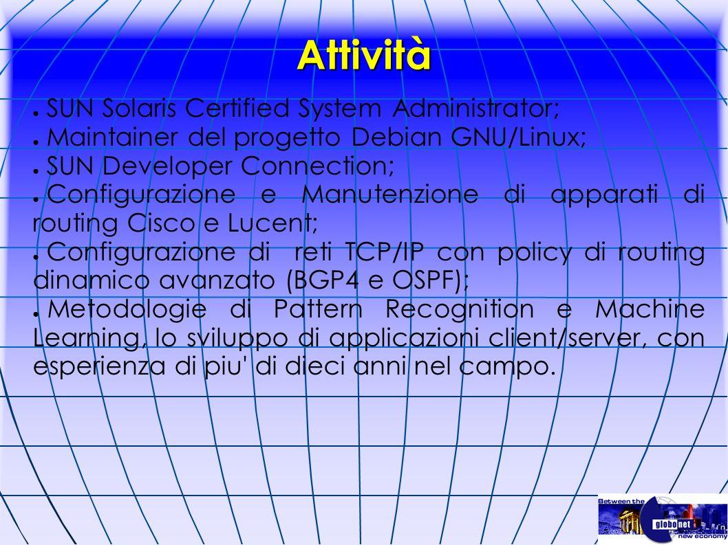 Attività SUN Solaris Certified System Administrator; Maintainer del progetto Debian GNU/Linux; SUN Developer Connection; Configurazione e Manutenzione