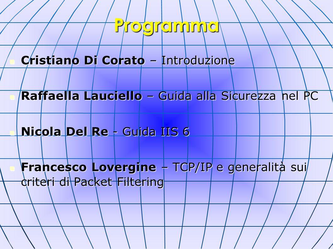 Cristiano Di Corato – Introduzione Cristiano Di Corato – Introduzione Raffaella Lauciello – Guida alla Sicurezza nel PC Raffaella Lauciello – Guida al
