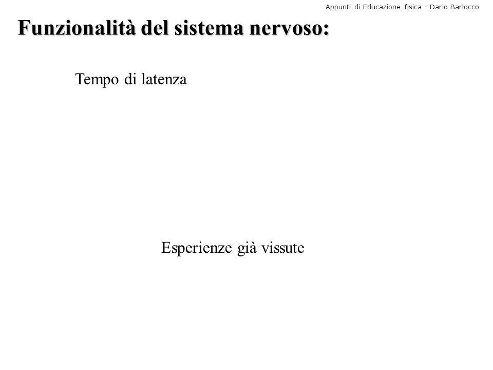 Appunti di Educazione fisica - Dario Barlocco Funzionalità del sistema nervoso: Tempo di latenza Esperienze già vissute