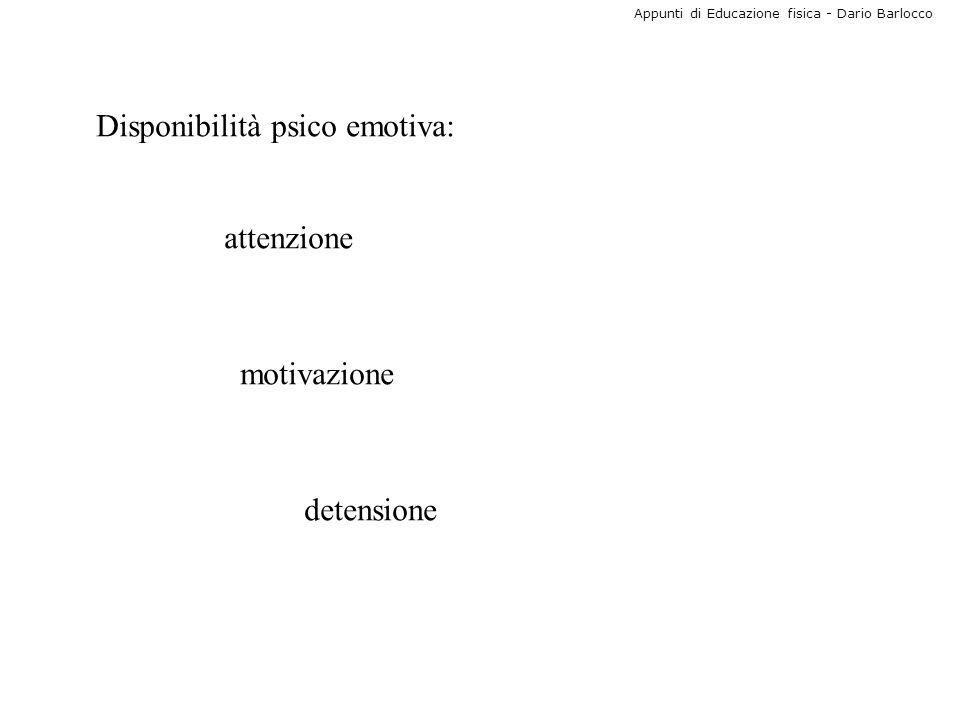 Appunti di Educazione fisica - Dario Barlocco Disponibilità psico emotiva: attenzione motivazione detensione