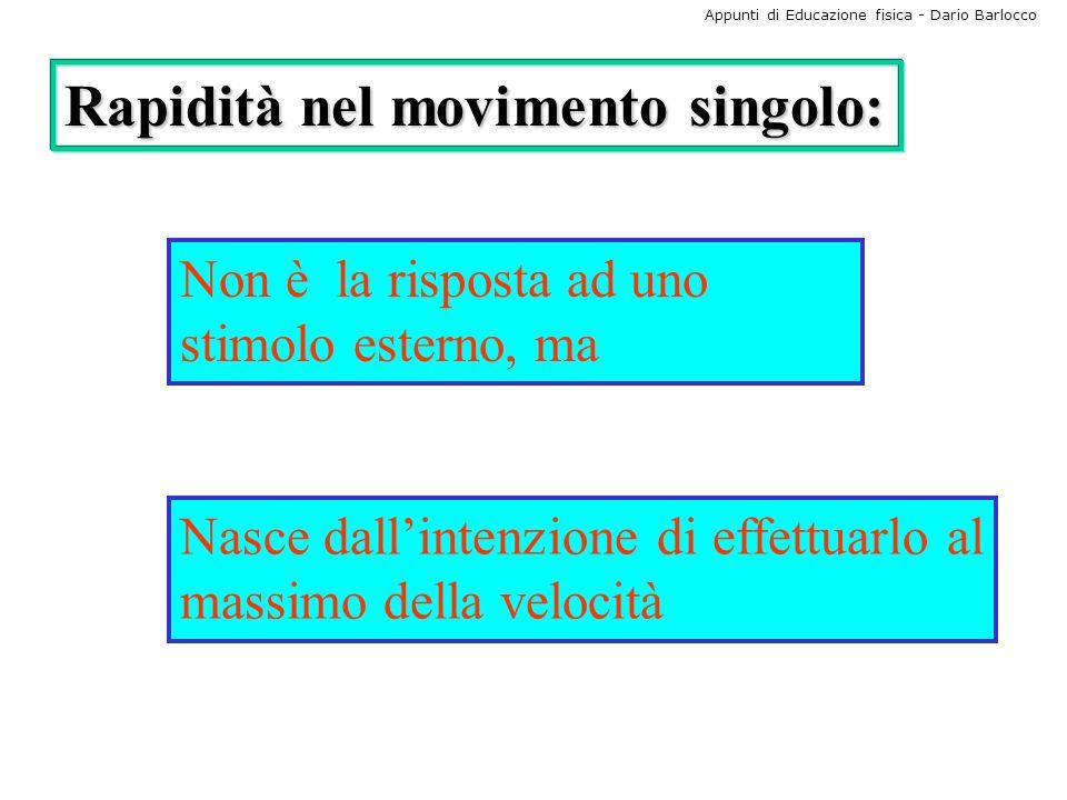 Appunti di Educazione fisica - Dario Barlocco Rapidità nel movimento singolo: Non è la risposta ad uno stimolo esterno, ma Nasce dallintenzione di eff