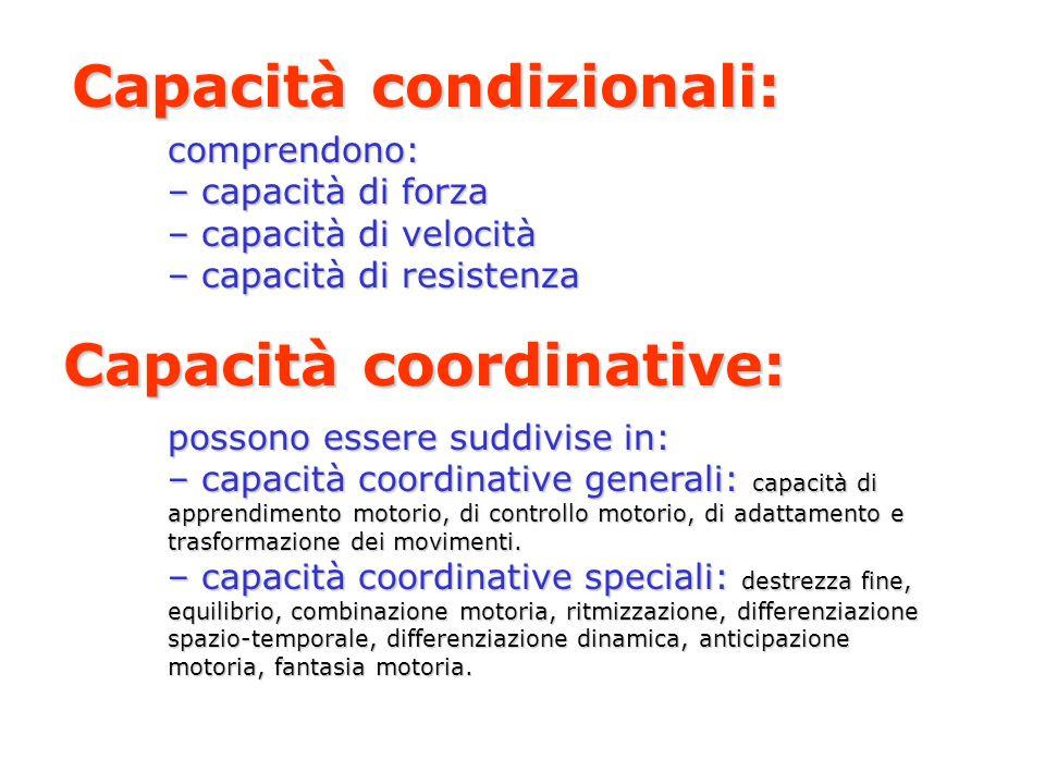 Capacità condizionali: comprendono: – capacità di forza – capacità di velocità – capacità di resistenza Capacità coordinative: possono essere suddivis