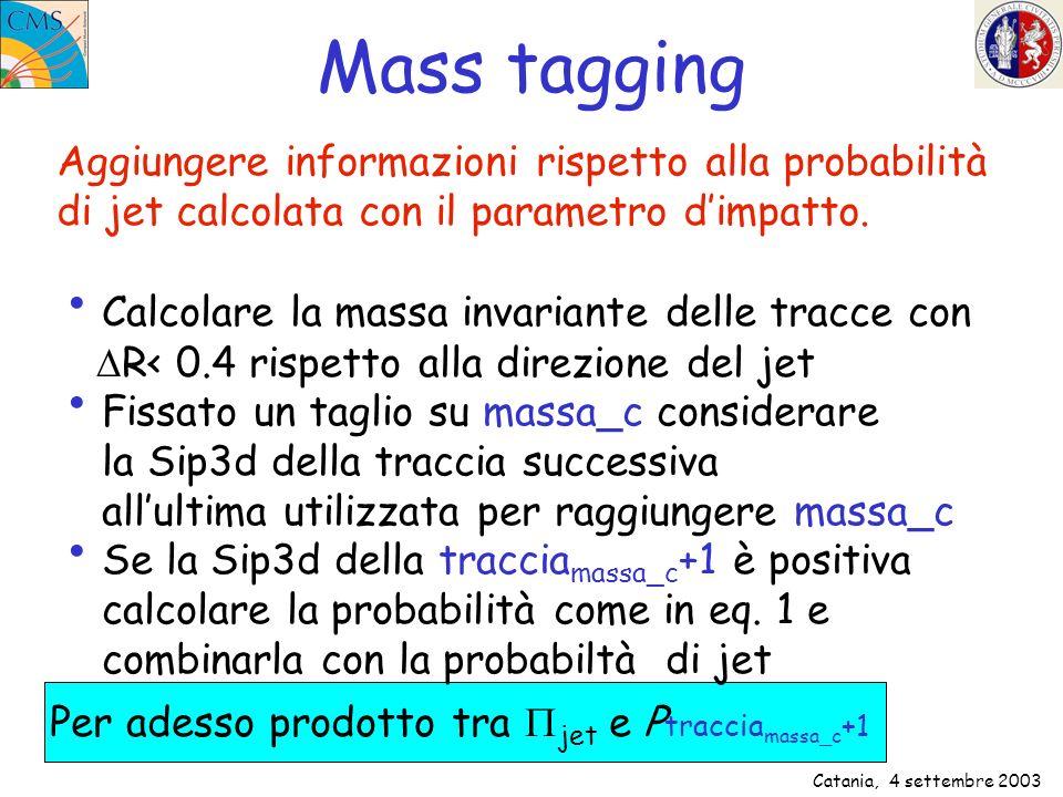 Catania, 4 settembre 2003 Variabili di Mass Tagging Sip3d di traccia massa_c +1 -Log(Prob(traccia_c+1)) Combinando linearmente –log jet e -log(Prob(traccia_c+1)) Fissato taglio M c =1 GeV