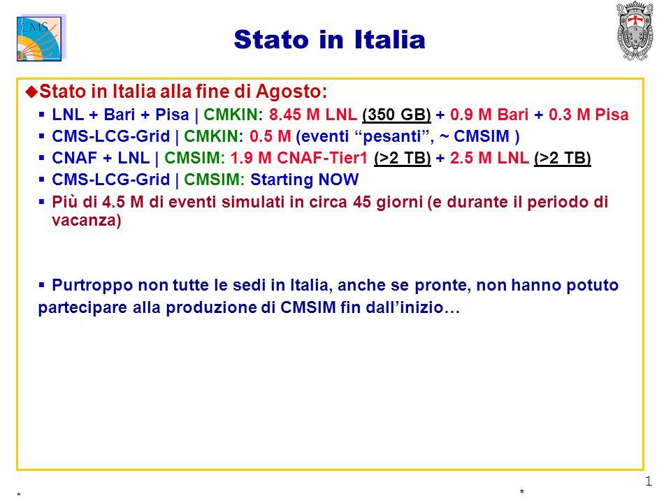 1 * * Stato in Italia Stato in Italia alla fine di Agosto: LNL + Bari + Pisa | CMKIN: 8.45 M LNL (350 GB) + 0.9 M Bari + 0.3 M Pisa CMS-LCG-Grid | CMK