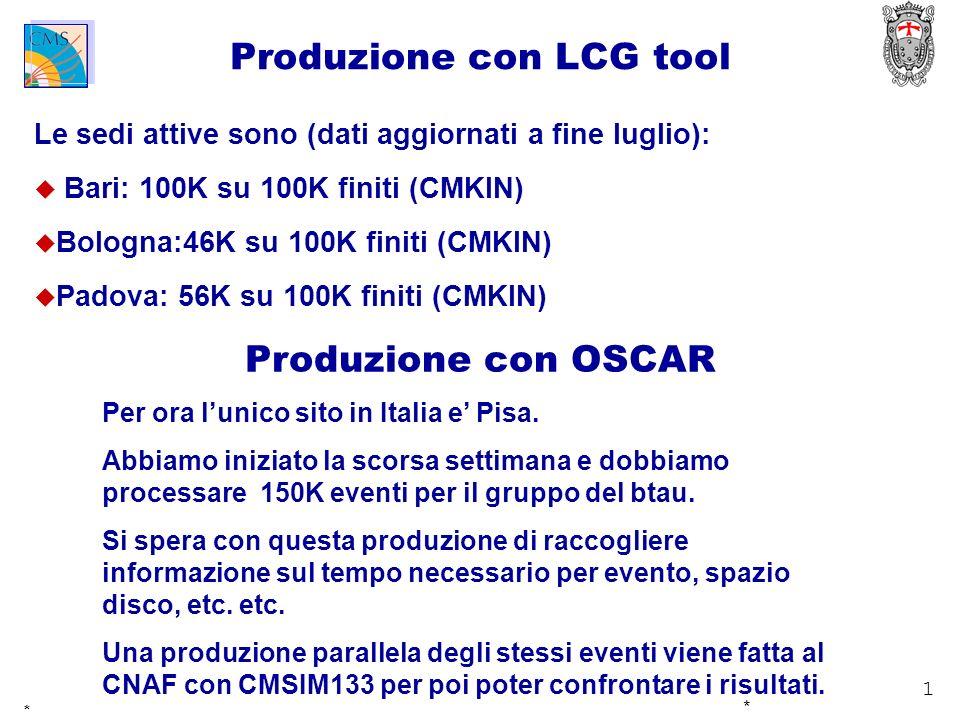 1 * * Produzione con LCG tool Le sedi attive sono (dati aggiornati a fine luglio): Bari: 100K su 100K finiti (CMKIN) Bologna:46K su 100K finiti (CMKIN