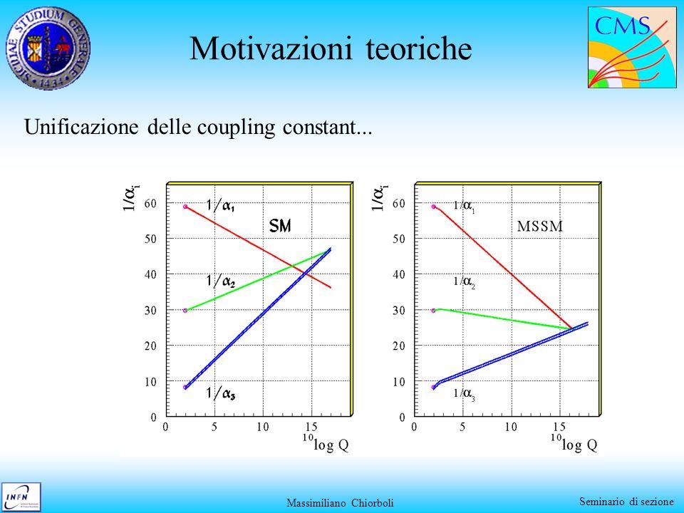 Massimiliano Chiorboli Seminario di sezione Motivazioni teoriche Unificazione delle coupling constant...