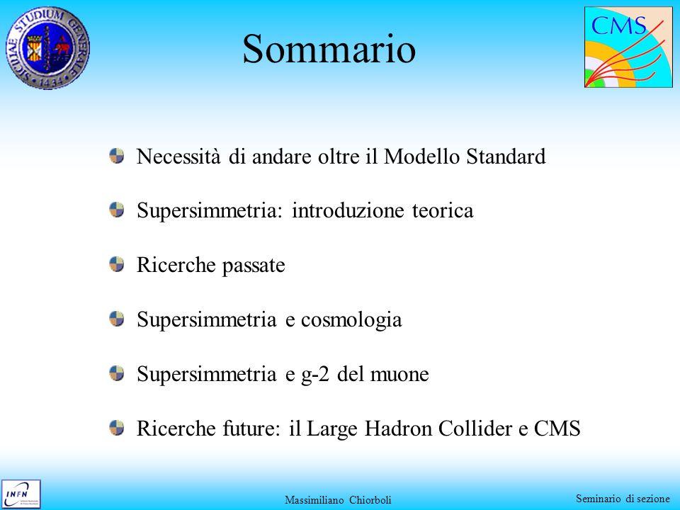 Seminario di sezione Sommario Necessità di andare oltre il Modello Standard Supersimmetria: introduzione teorica Ricerche passate Supersimmetria e cos