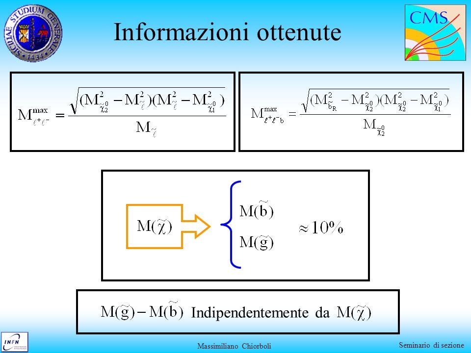 Massimiliano Chiorboli Seminario di sezione Informazioni ottenute Indipendentemente da