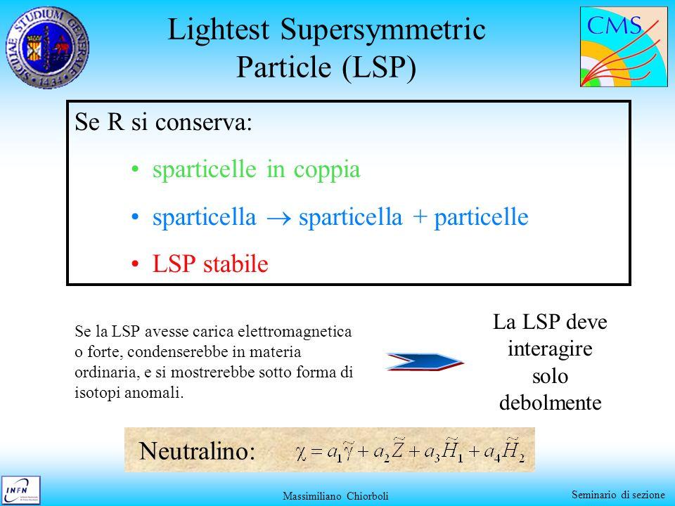 Massimiliano Chiorboli Seminario di sezione Lightest Supersymmetric Particle (LSP) Se R si conserva: sparticelle in coppia sparticella sparticella + p