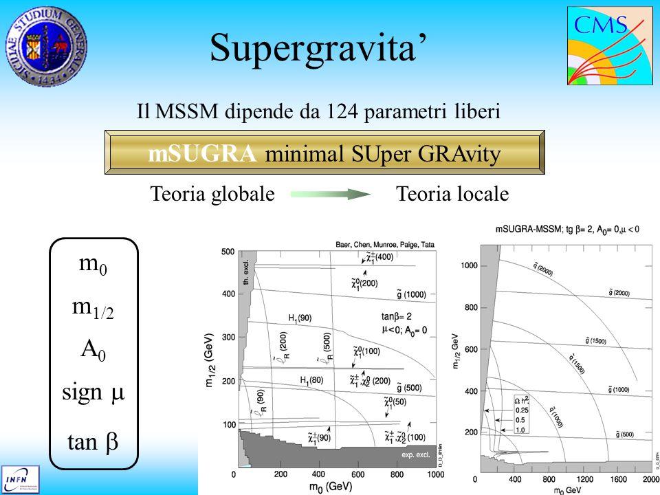 Massimiliano Chiorboli Seminario di sezione Supergravita mSUGRA minimal SUper GRAvity Il MSSM dipende da 124 parametri liberi Teoria globaleTeoria loc