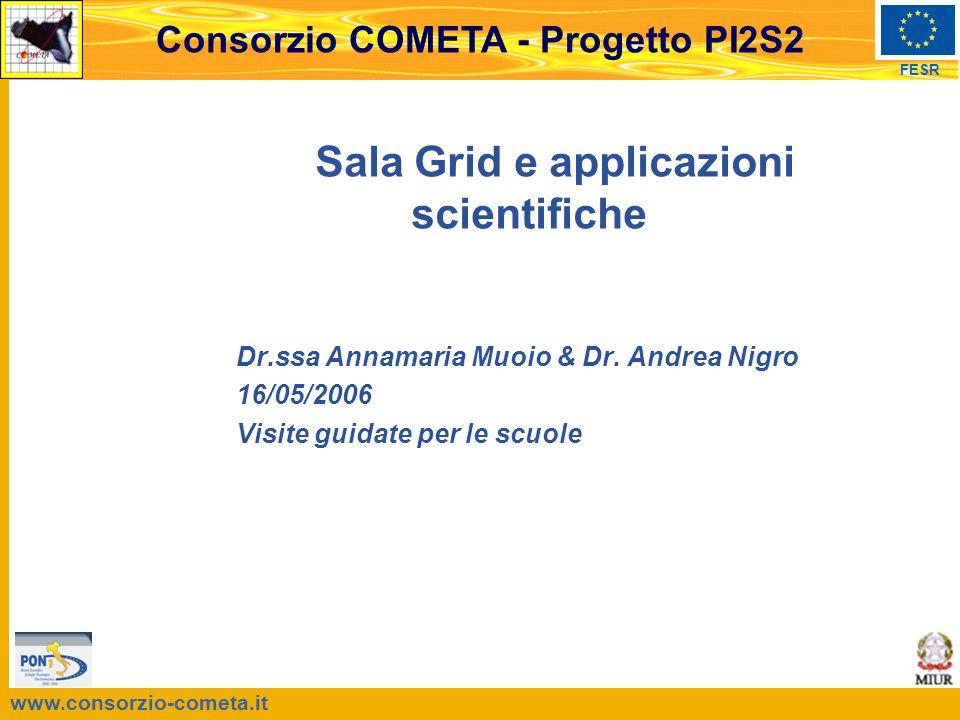 www.consorzio-cometa.it FESR Consorzio COMETA - Progetto PI2S2 Sala Grid e applicazioni scientifiche Dr.ssa Annamaria Muoio & Dr.