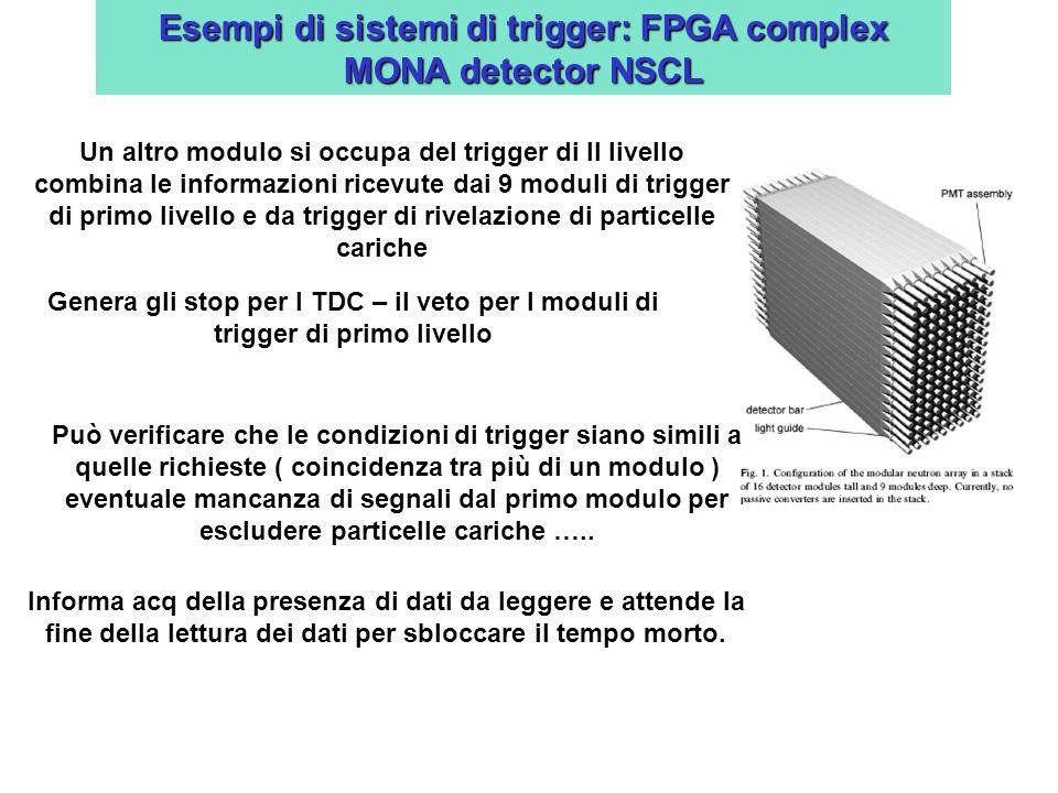 Esempi di sistemi di trigger: FPGA complex MONA detector NSCL Un altro modulo si occupa del trigger di II livello combina le informazioni ricevute dai 9 moduli di trigger di primo livello e da trigger di rivelazione di particelle cariche Genera gli stop per I TDC – il veto per I moduli di trigger di primo livello Può verificare che le condizioni di trigger siano simili a quelle richieste ( coincidenza tra più di un modulo ) eventuale mancanza di segnali dal primo modulo per escludere particelle cariche …..