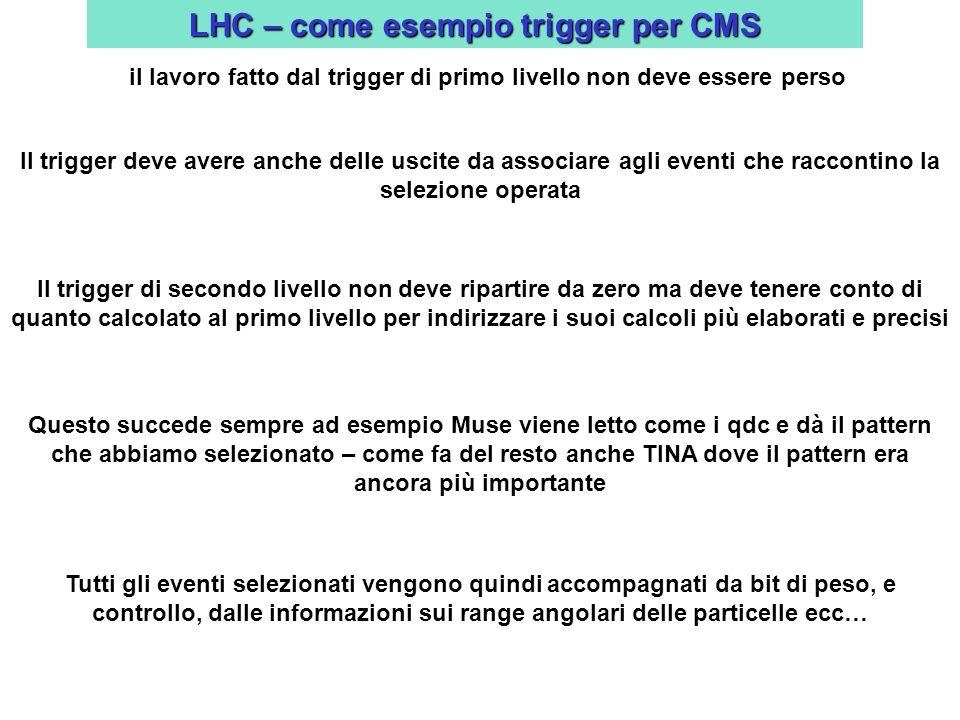 LHC – come esempio trigger per CMS il lavoro fatto dal trigger di primo livello non deve essere perso Il trigger deve avere anche delle uscite da associare agli eventi che raccontino la selezione operata Il trigger di secondo livello non deve ripartire da zero ma deve tenere conto di quanto calcolato al primo livello per indirizzare i suoi calcoli più elaborati e precisi Questo succede sempre ad esempio Muse viene letto come i qdc e dà il pattern che abbiamo selezionato – come fa del resto anche TINA dove il pattern era ancora più importante Tutti gli eventi selezionati vengono quindi accompagnati da bit di peso, e controllo, dalle informazioni sui range angolari delle particelle ecc…
