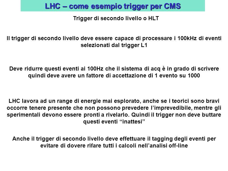 LHC – come esempio trigger per CMS Trigger di secondo livello o HLT Il trigger di secondo livello deve essere capace di processare i 100kHz di eventi selezionati dal trigger L1 Deve ridurre questi eventi ai 100Hz che il sistema di acq è in grado di scrivere quindi deve avere un fattore di accettazione di 1 evento su 1000 LHC lavora ad un range di energie mai esplorato, anche se i teorici sono bravi occorre tenere presente che non possono prevedere limprevedibile, mentre gli sperimentali devono essere pronti a rivelarlo.