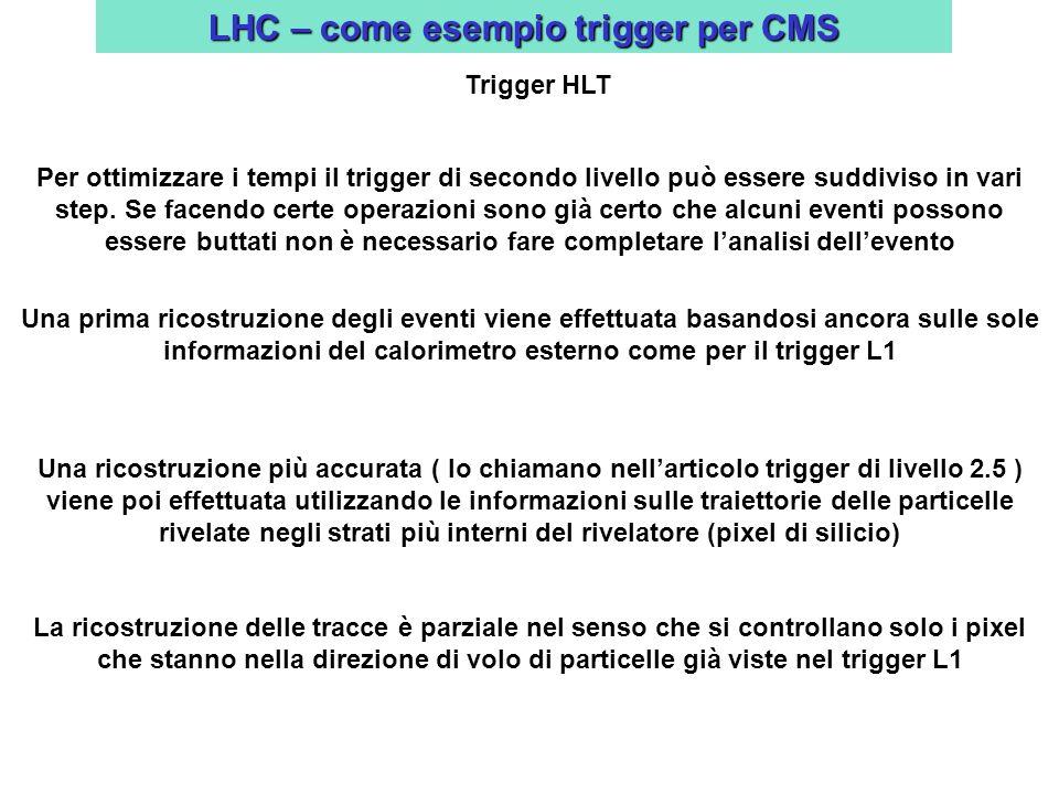 LHC – come esempio trigger per CMS Trigger HLT Per ottimizzare i tempi il trigger di secondo livello può essere suddiviso in vari step.