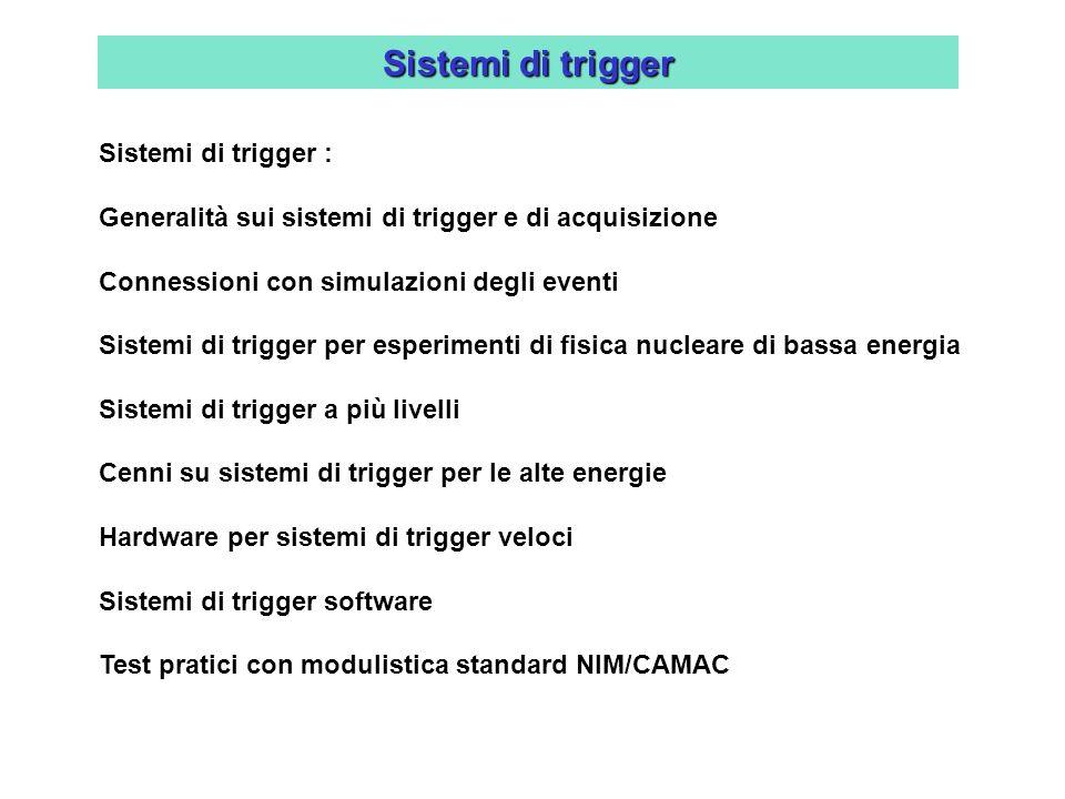 Sistemi di trigger Sistemi di trigger : Generalità sui sistemi di trigger e di acquisizione Connessioni con simulazioni degli eventi Sistemi di trigge