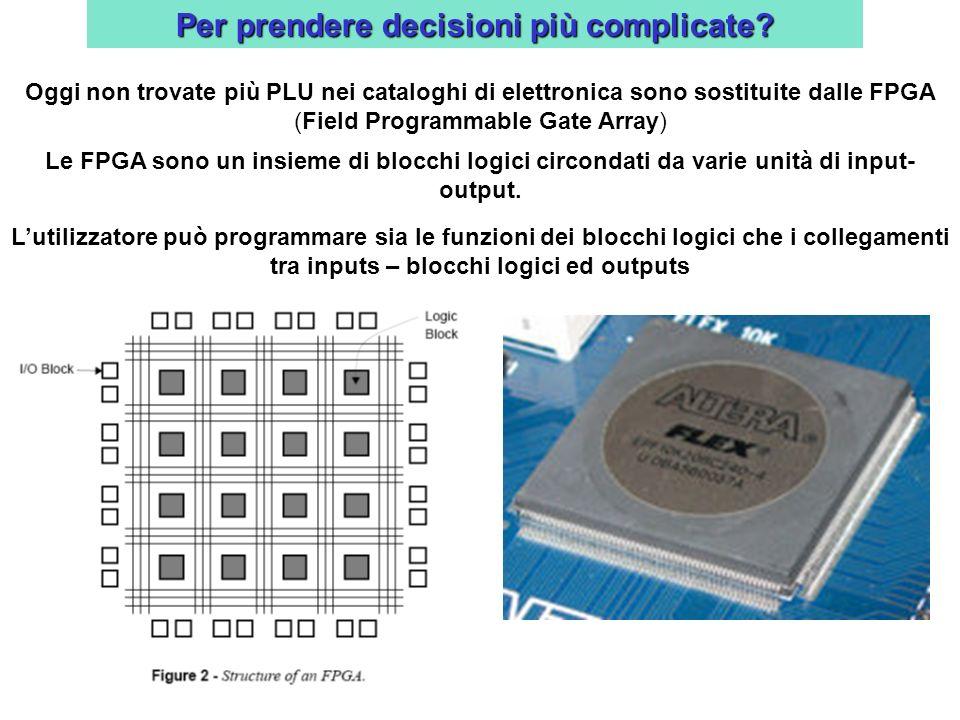 Per prendere decisioni più complicate? Oggi non trovate più PLU nei cataloghi di elettronica sono sostituite dalle FPGA (Field Programmable Gate Array