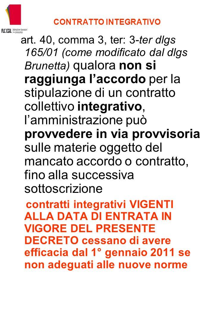 CONTRATTO INTEGRATIVO art. 40, comma 3, ter: 3-ter dlgs 165/01 (come modificato dal dlgs Brunetta) qualora non si raggiunga laccordo per la stipulazio