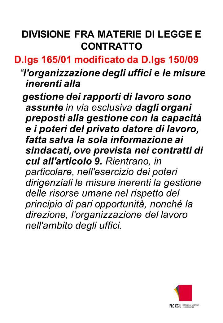 DIVISIONE FRA MATERIE DI LEGGE E CONTRATTO D.lgs 165/01 modificato da D.lgs 150/09 l'organizzazione degli uffici e le misure inerenti alla gestione de