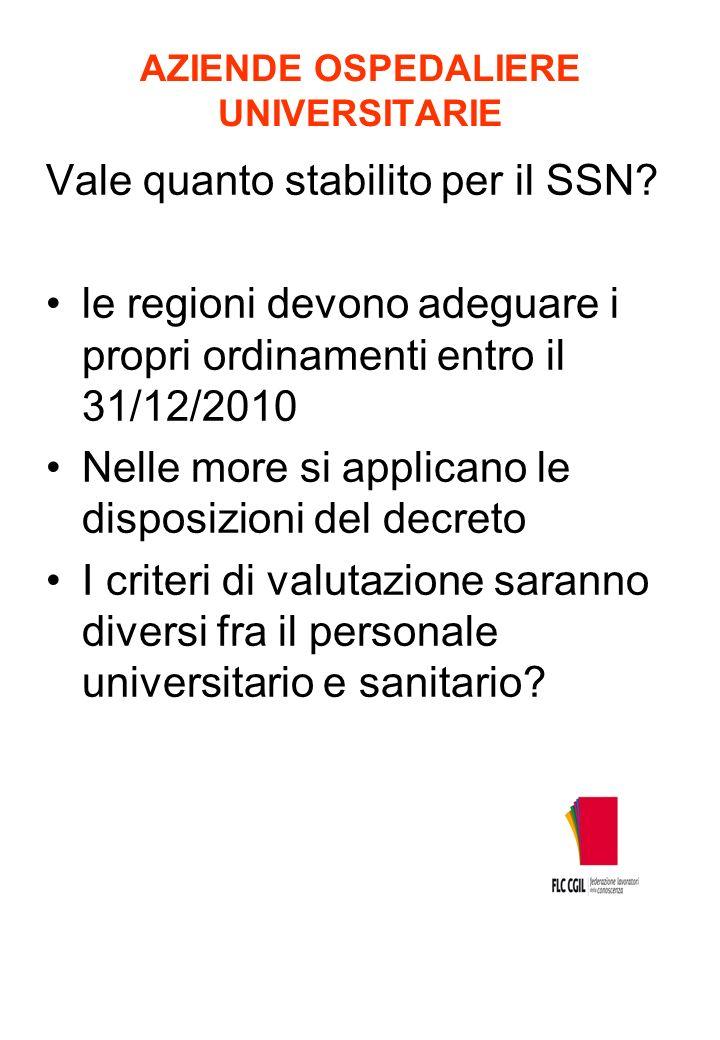 AZIENDE OSPEDALIERE UNIVERSITARIE Vale quanto stabilito per il SSN? le regioni devono adeguare i propri ordinamenti entro il 31/12/2010 Nelle more si