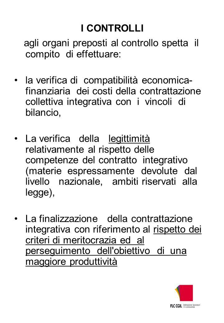 I CONTROLLI agli organi preposti al controllo spetta il compito di effettuare: la verifica di compatibilità economica- finanziaria dei costi della con