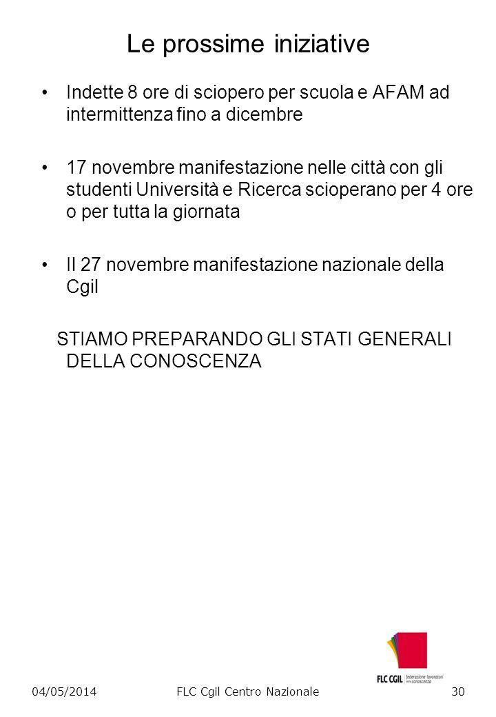 Le prossime iniziative Indette 8 ore di sciopero per scuola e AFAM ad intermittenza fino a dicembre 17 novembre manifestazione nelle città con gli stu