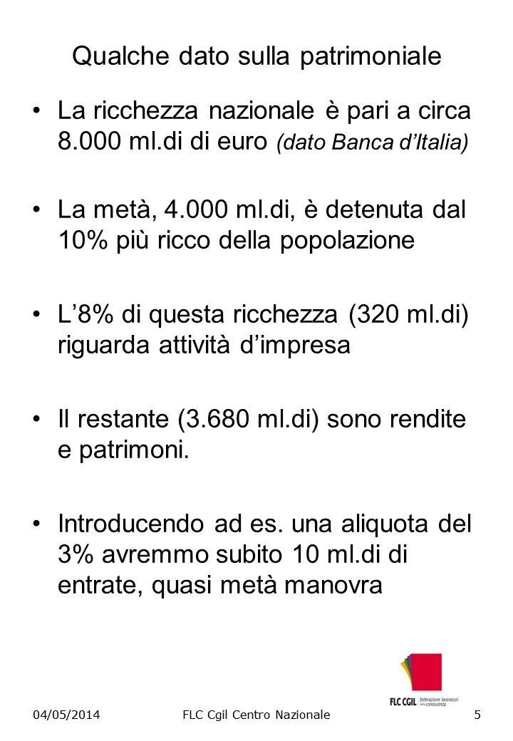 04/05/2014FLC Cgil Centro Nazionale5 Qualche dato sulla patrimoniale La ricchezza nazionale è pari a circa 8.000 ml.di di euro (dato Banca dItalia) La metà, 4.000 ml.di, è detenuta dal 10% più ricco della popolazione L8% di questa ricchezza (320 ml.di) riguarda attività dimpresa Il restante (3.680 ml.di) sono rendite e patrimoni.