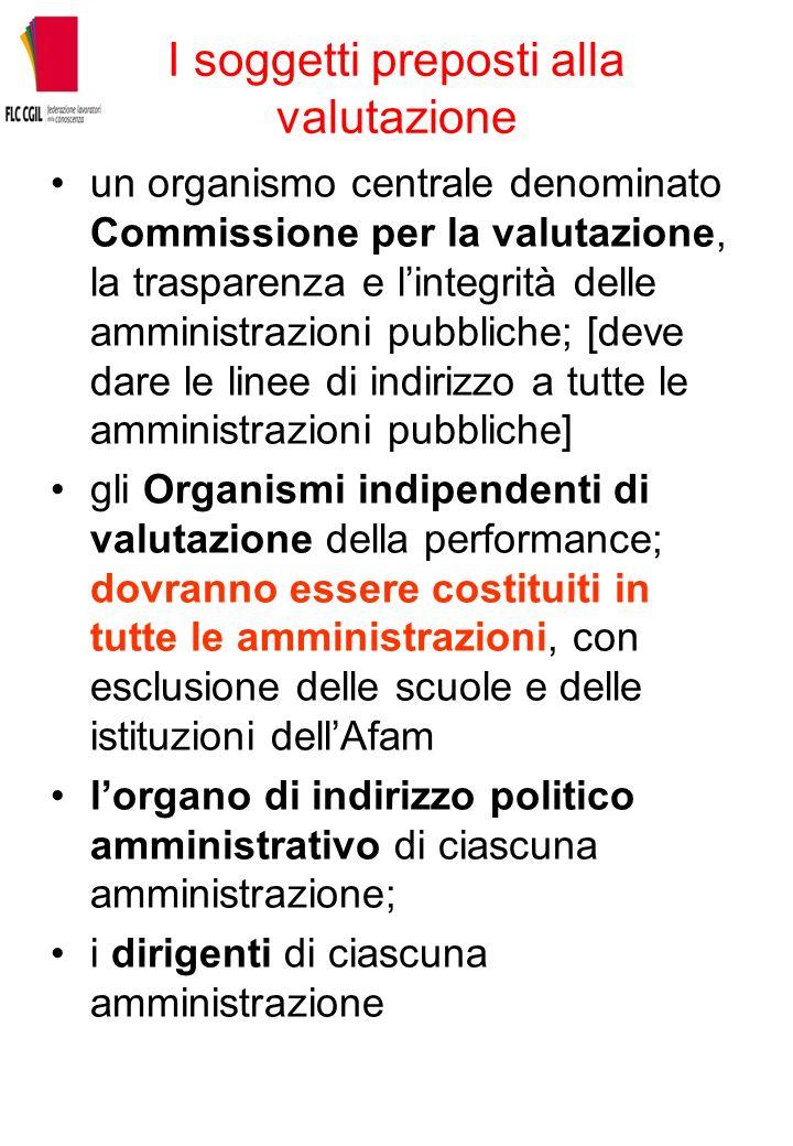 I soggetti preposti alla valutazione un organismo centrale denominato Commissione per la valutazione, la trasparenza e lintegrità delle amministrazion