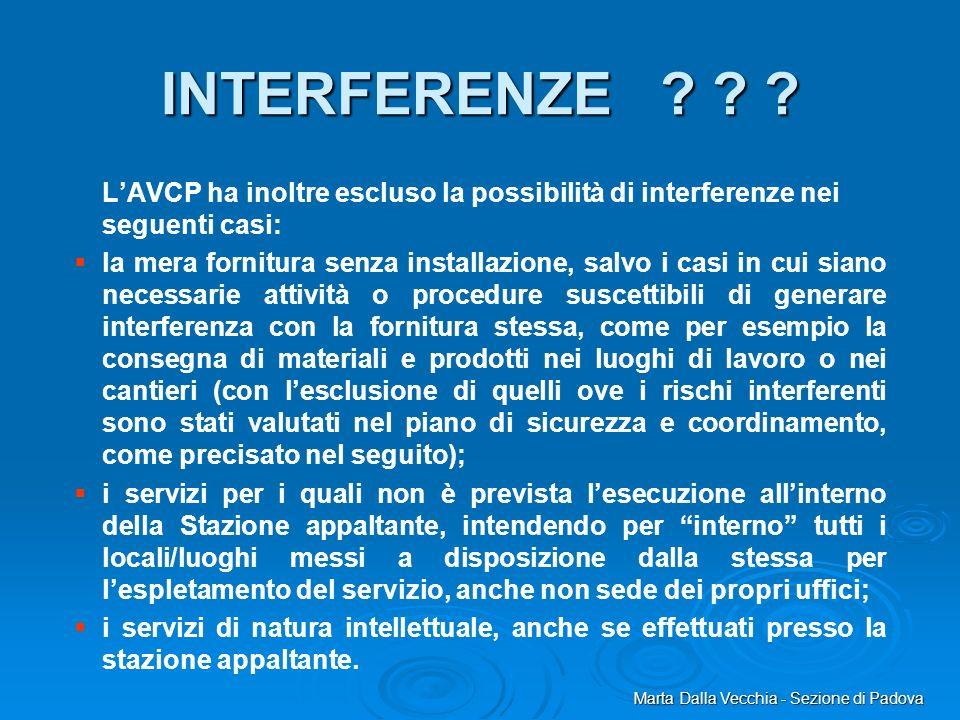 Marta Dalla Vecchia - Sezione di Padova INTERFERENZE ? ? ? LAVCP ha inoltre escluso la possibilità di interferenze nei seguenti casi: la mera fornitur