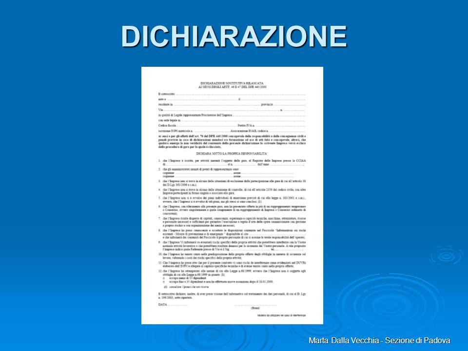 Marta Dalla Vecchia - Sezione di Padova DICHIARAZIONE