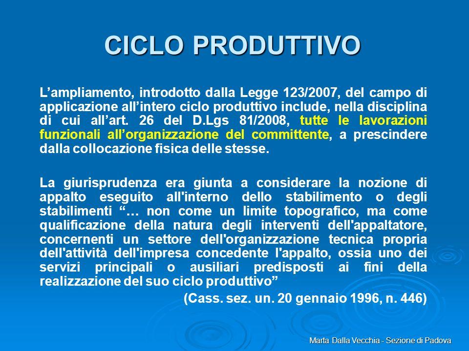 Marta Dalla Vecchia - Sezione di Padova CICLO PRODUTTIVO Lampliamento, introdotto dalla Legge 123/2007, del campo di applicazione allintero ciclo prod
