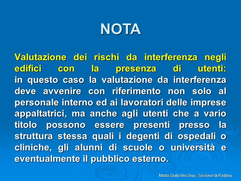 Marta Dalla Vecchia - Sezione di Padova Valutazione dei rischi da interferenza negli edifici con la presenza di utenti: in questo caso la valutazione