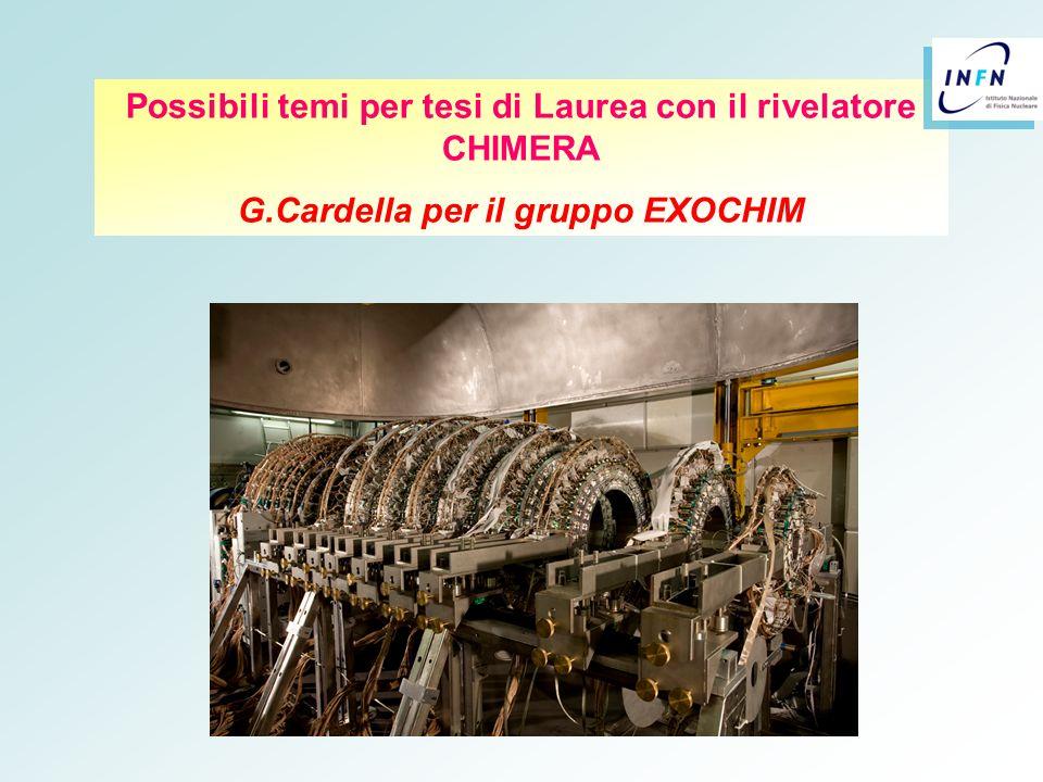 Siamo lieti di illustrarvi meglio tutte queste possibilità di tesi Troverete queste slide e altro materiale sul mio sito ( nelle pagine personali del sito web del Dipartimento ) http://www.ct.infn.it/~cardella/ - http://www.ct.infn.it/~cardella/presentations/ e sul sito dellesperimento EXOCHIM che trovate sulle pagine WEB dei LNS http://www.lns.infn.it/