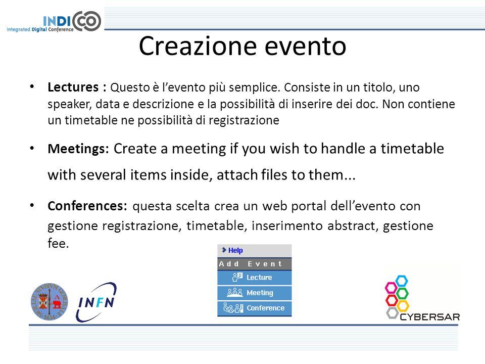 Creazione evento Lectures : Questo è levento più semplice.